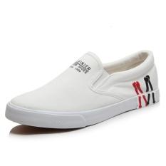 Giày lười vải nam họa tiết M (Đen đế đen)