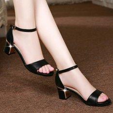 Giày sandal quai ngang gót viền vàng