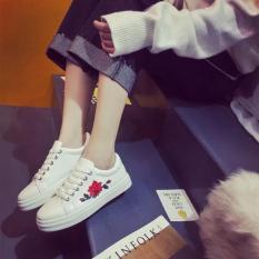 Giày sneaker nữ thêu hoa hồng (trắng)