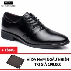 Giày Tây Nam Da Cột Dây Zapas GT020 (Đen) + Tặng Ví Nam