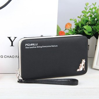 Multi-function Woman Long Wallet Mobile Phone Bag - Black
