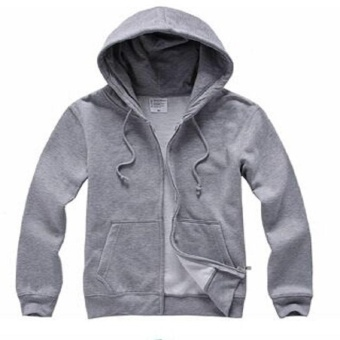 Victory New Men's Hooded Cotton Cardigan Student Uniforms Solid Color Long Sleeve Zipper Hoodie Lightweight Jackets(Grey) - intl