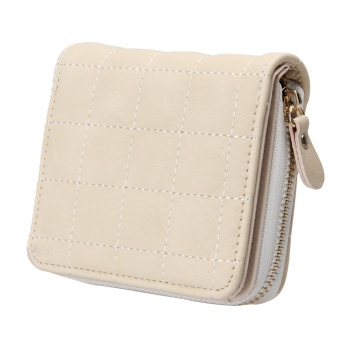 Women PU Leather Plaid Purse Nubuck Card Holder (White) - intl