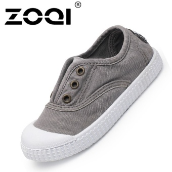 ZOQI Boy's And Girl's Casual Shoes Fashion Baby Canvas Shoes(Grey)- intl