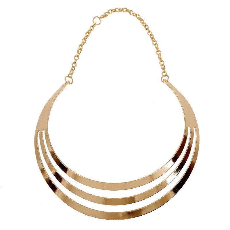Amango Fashion Multilayer Statement Punk Necklace Charm Luxury Choker Collar Necklaces Gold - intl