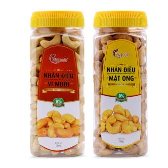 Bộ 1 hộp nhân điều Vietnuts vị muối 300g và 1 hộp nhân điều Vietnuts vị mật ong 300g