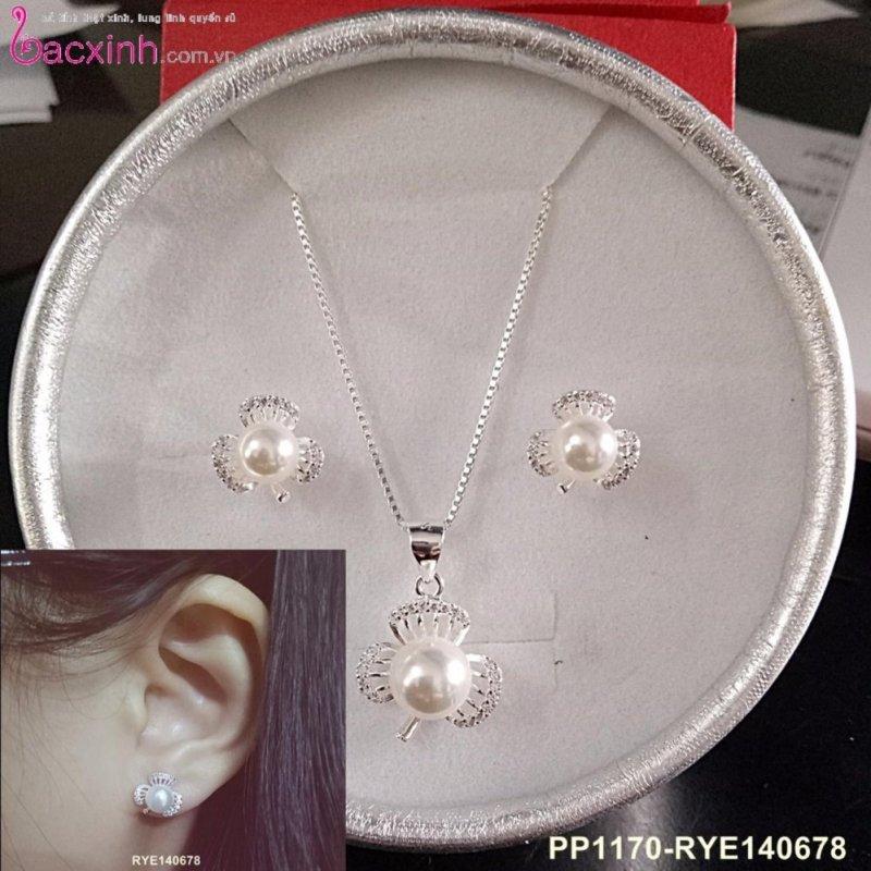 Bộ dây chuyền liền mặt và bông tai  trang sức bạc Ý S925 Bạc Xinh - Ngọc trai cỏ ba lá PP1170-RYE140678