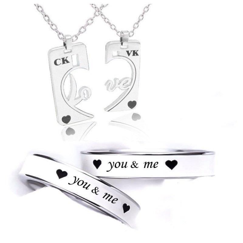 Bộ dây chuyền và nhẫn đôi tình yêu gắn kết
