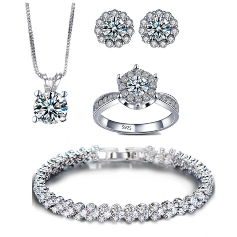 Bộ trang sức bạc 4 món đính đá thời trang minh tuệ shop SBT403