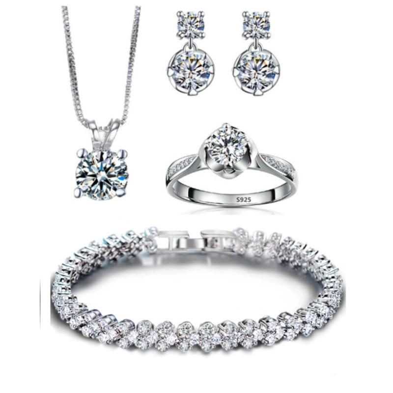 Bộ trang sức bạc 4 món đính đá thời trang minhtueshop SBT406