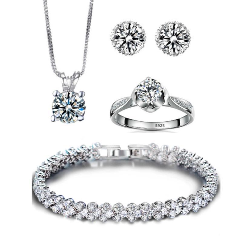 Bộ trang sức bạc 4 món đính đá thời trang minhtueshop SBT408
