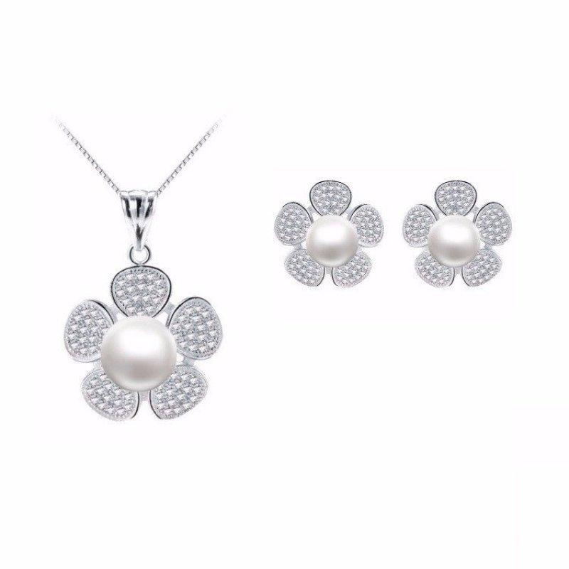 Bộ Trang Sức Bạc Hoa Đính Kim Cương Ngọc Trai Cao Cấp Bily Shop