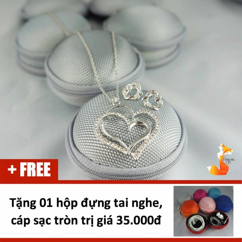 Bộ trang sức nữ bạc Ý S925 Foxy – Bộ bông tai dây chuyền trái tim SetHTDC1550