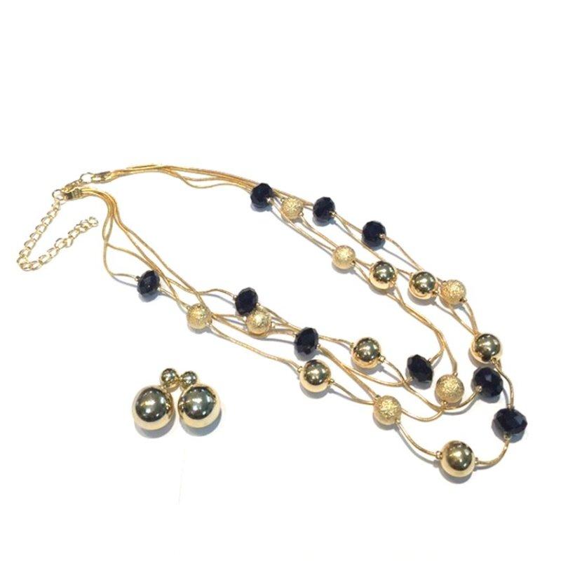 Bộ trang sức Vòng cổ bông tai dáng tròn Trang sức Minh Ngọc (Vàng)