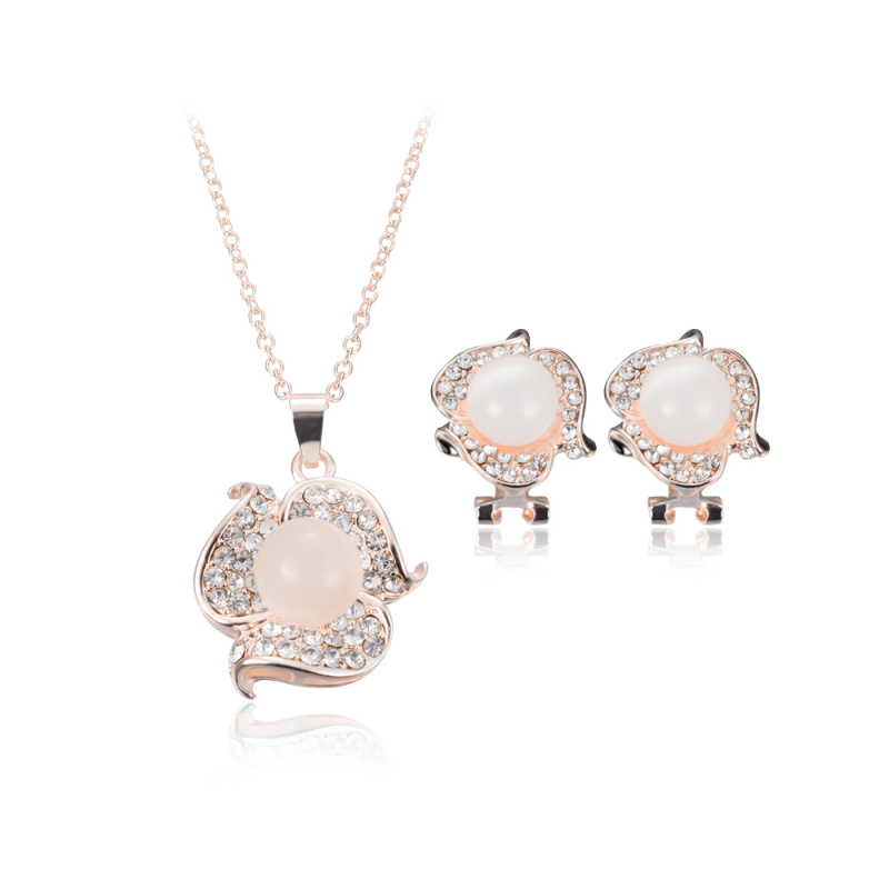 BolehDeals  Boho Victoria Flower Peral Necklace Pendant Earrings Set Wedding Bridal - Intl