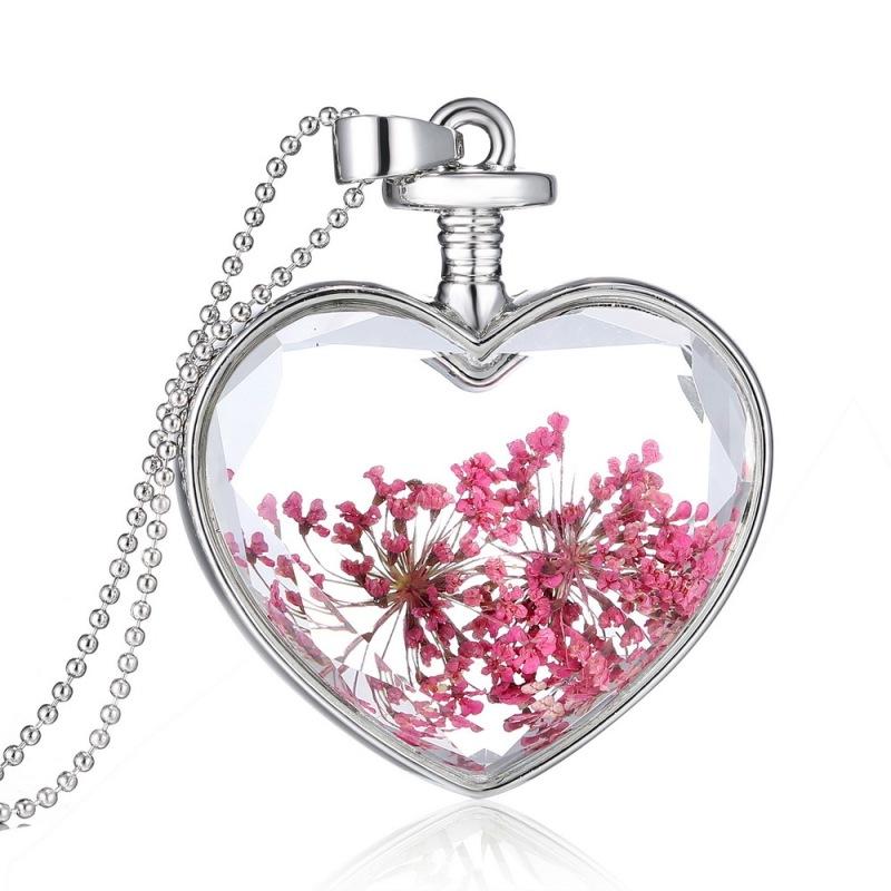 BolehDeals  Gold Plated Glass Bottle Heart Dried Pink Flower Pendant Necklace Chain - Intl