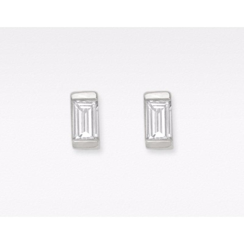 Bông tai bạc nữ trang sức đẹp đính đá chữ nhật Gix Jewelry- SPE-0025B (trắng)