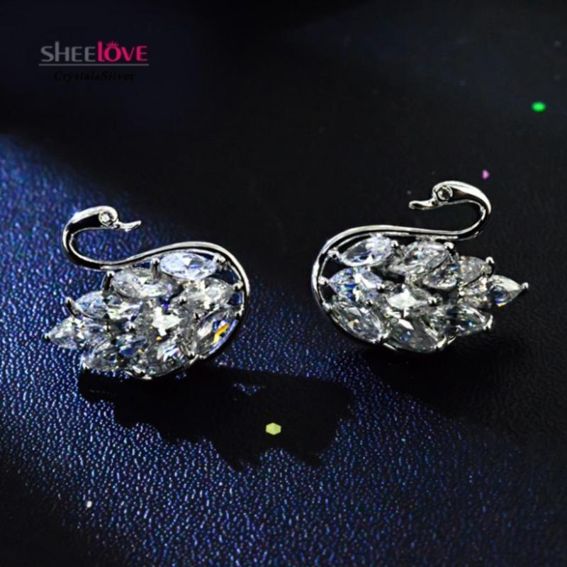 Bông tai bạc S925 cổ điển thiên nga đá Zircon pha lê lấp lánh cao cấp SE-JS2103