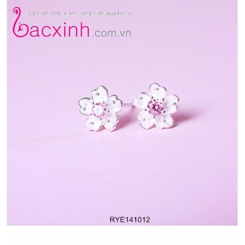Bông tai nữ trang sức bạc Ý S925 Bạc Xinh - Hoa anh đào RYE141012
