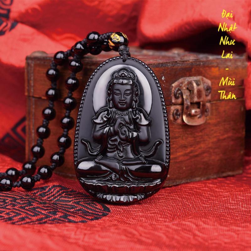 Chuỗi hạt đeo cổ mặt Đại Nhật Như Lai - Phật bản mệnh người tuổi Mùi, Thân - Tặng kèm chuỗi hạt đeo tay bằng đá Lava