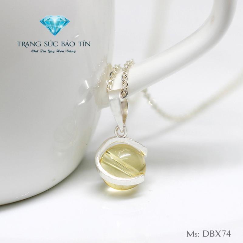 Dây Chuyền Bạc Nữ Mặt Đá Thạch Anh Vàng Mệnh Kim - Thổ Cao Cấp