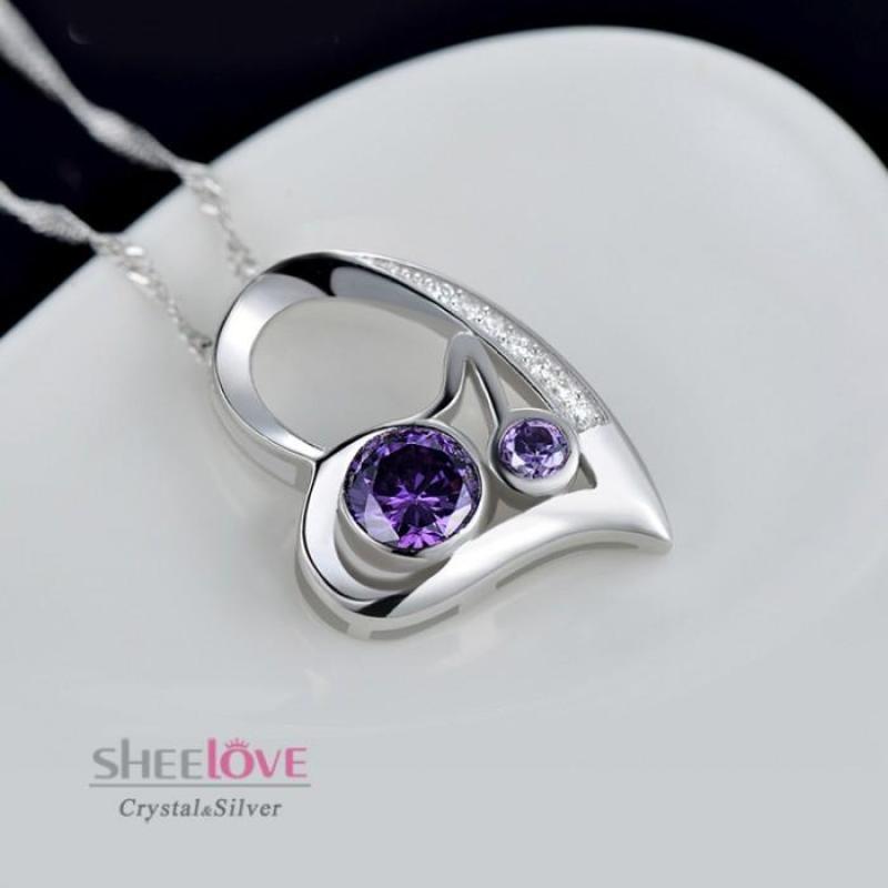 Dây chuyền bạc trái tim tình yêu lấp lánh SPN-DZ087(Tím)