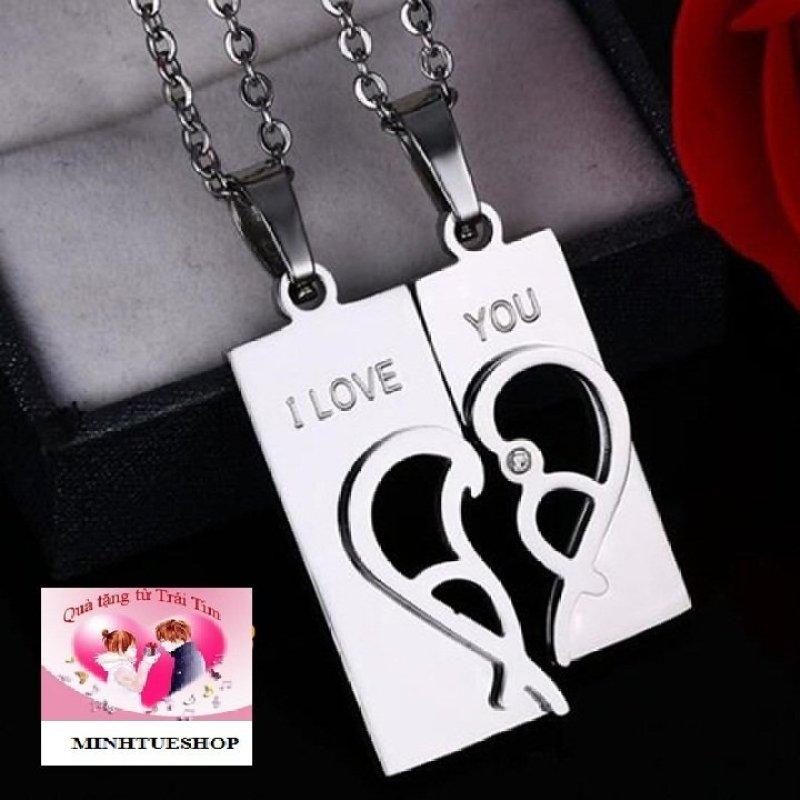 Dây chuyền cặp đôi inox trái tim- trang sức inox