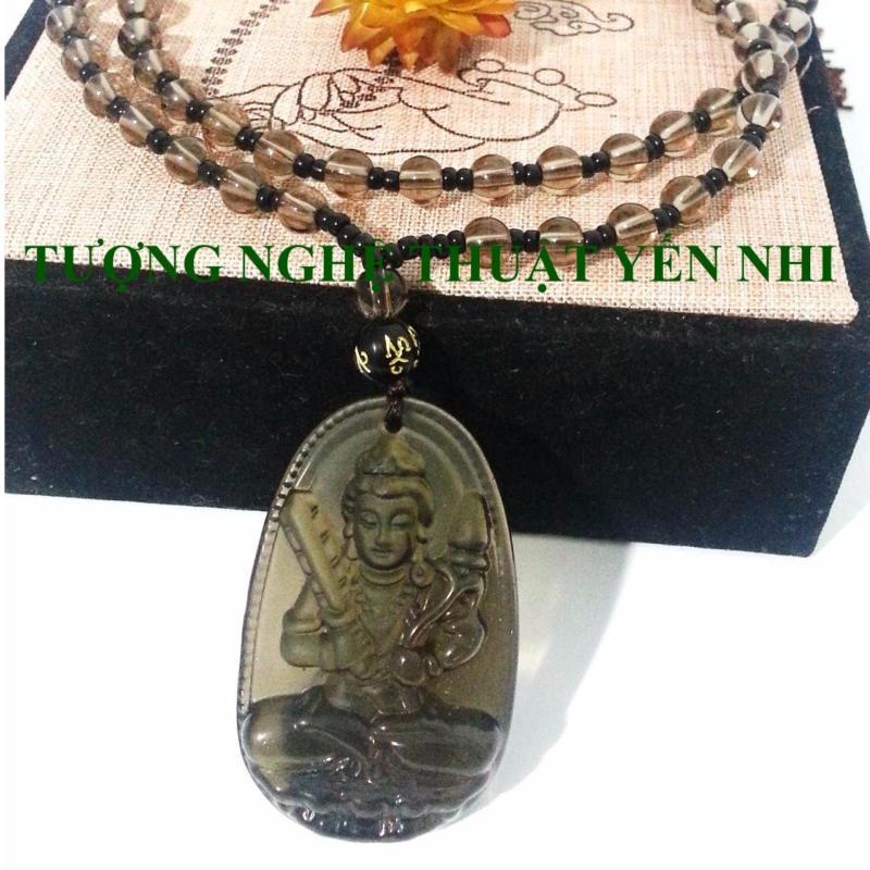 Dây chuyền đá Bồ Tát Hư Không thạch anh khói mặt 5x3cm ( Phật bản mệnh tuổi Sửu và Dần)