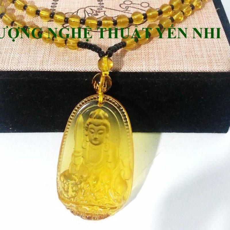 Dây chuyền đá Đại Thế Chí Bồ Tát pha lê vàng mặt 5x3cm ( Phật bản mệnh tuổi Ngọ)