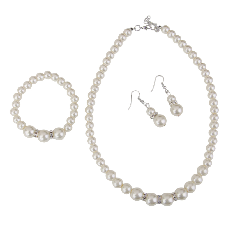 Fashion Women's Crystal Pearl Jewelry Set with Necklace Bracelet Earrings - Intl