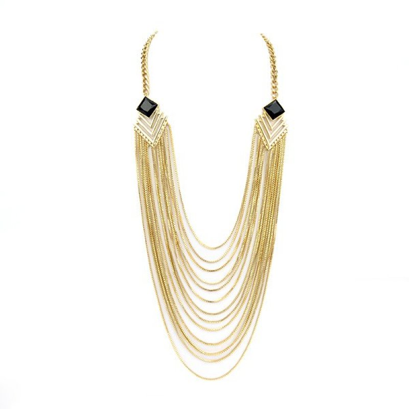 Feelontop New Coming Multi Layer Necklaces Gold Color Tassel Long Chain Necklace - intl