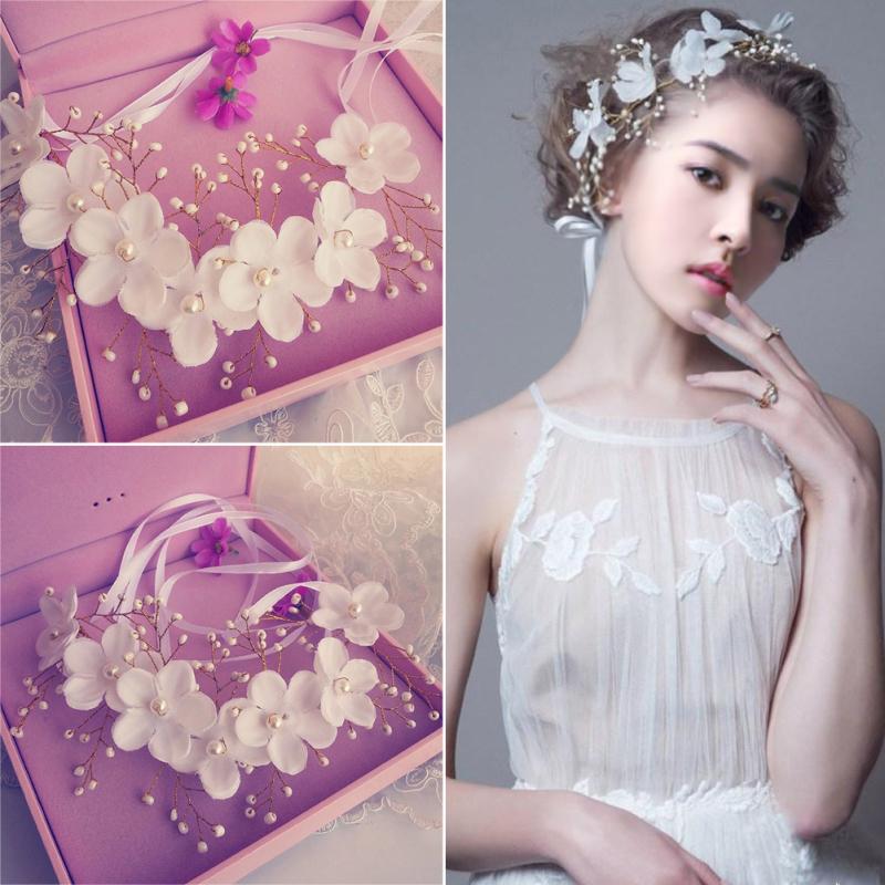 Flowers Pearl Garland Bridal Wedding Crown Floral Hair Headdress Headband