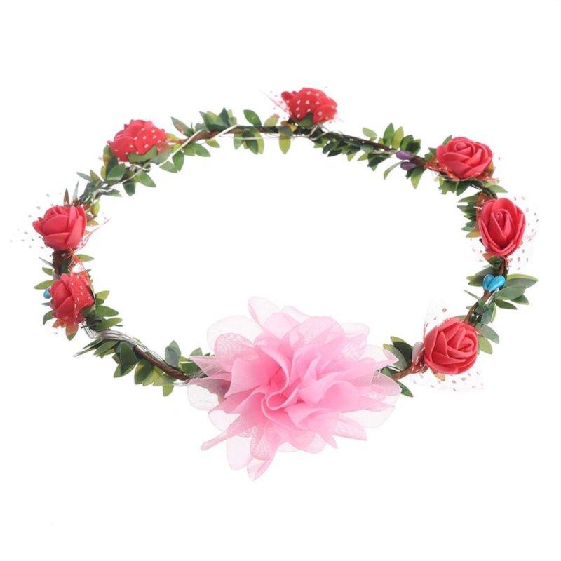 Handmade Crown Flower Headband Hair Garland Wedding Headpiece Red - intl