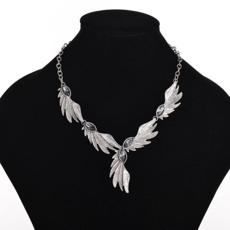 Lady Angle Wing Marquise Cut Rhinestone Wedding Bridal Collar Necklace - intl