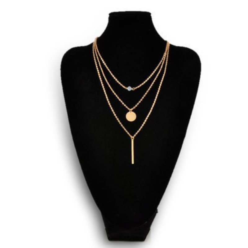 Okdeals Crystal 3 Layers Simple Gold Chain Necklace Gold - intl