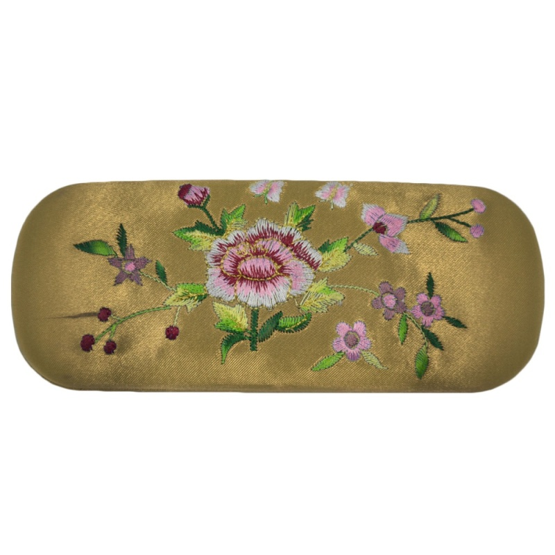 Mua Portable Korea Hard Floral Embroidery Eyeglasses Sunglasses Protector Holder Box Case Cover Anti-shock with Soft Lining Champagne - intl