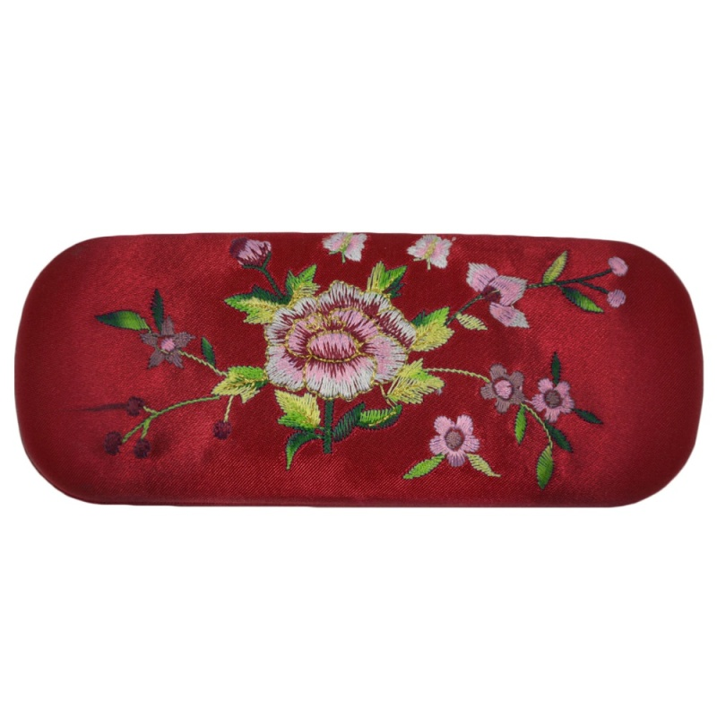 Mua Portable Korea Hard Floral Embroidery Eyeglasses Sunglasses Protector Holder Box Case Cover Anti-shock with Soft Lining Red - intl