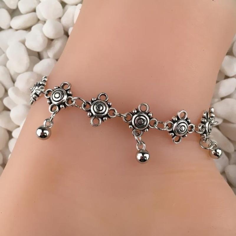 Retro Style Carved Hhollow Metal Droplets Tassel Anklets - intl