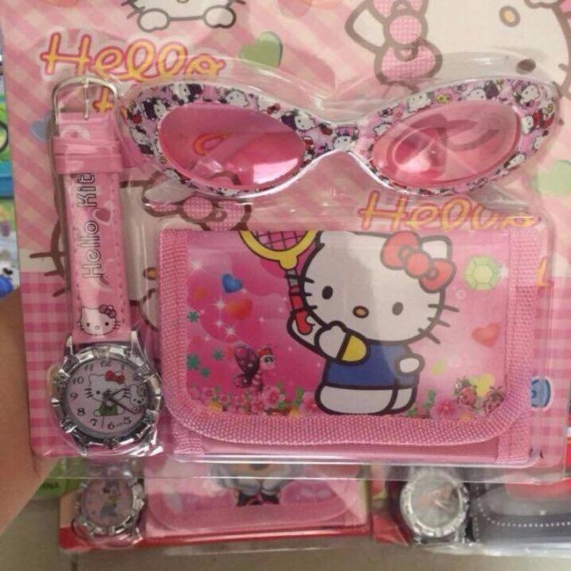 Giá bán Sét 3 món đồ kính mắt , đồng hồ và ví đựng cho trẻ họa tiết dễ thương ( màu ngẫu nhiên )