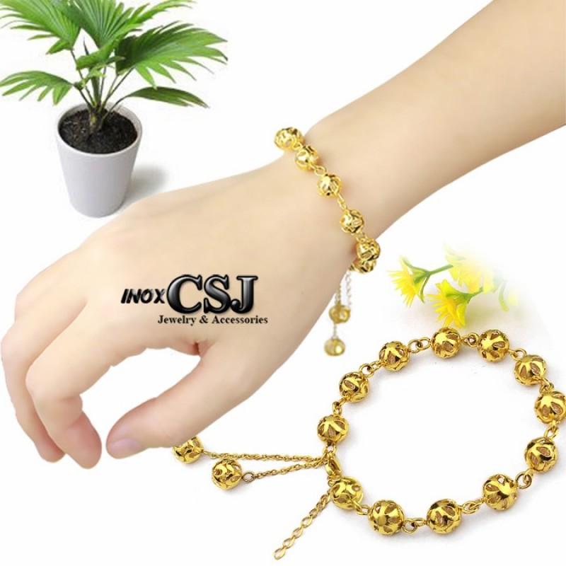 Vòng - lắc tay inox nữ trái châu 100% inox được mạ vàng 24k đẹp bền vĩnh viễn