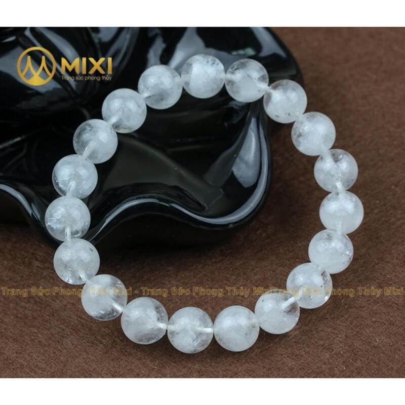 Vòng tay đá thạch anh Ưu Linh trắng 12 ly cho người mệnh Kim- Thủy