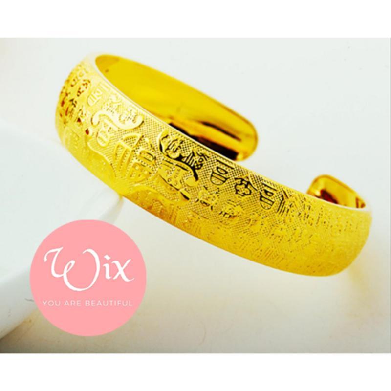 Vòng tay Xi vàng 24k cao cấp họa tiết Hoa Kim Tuyết Wix Shop sang trọng