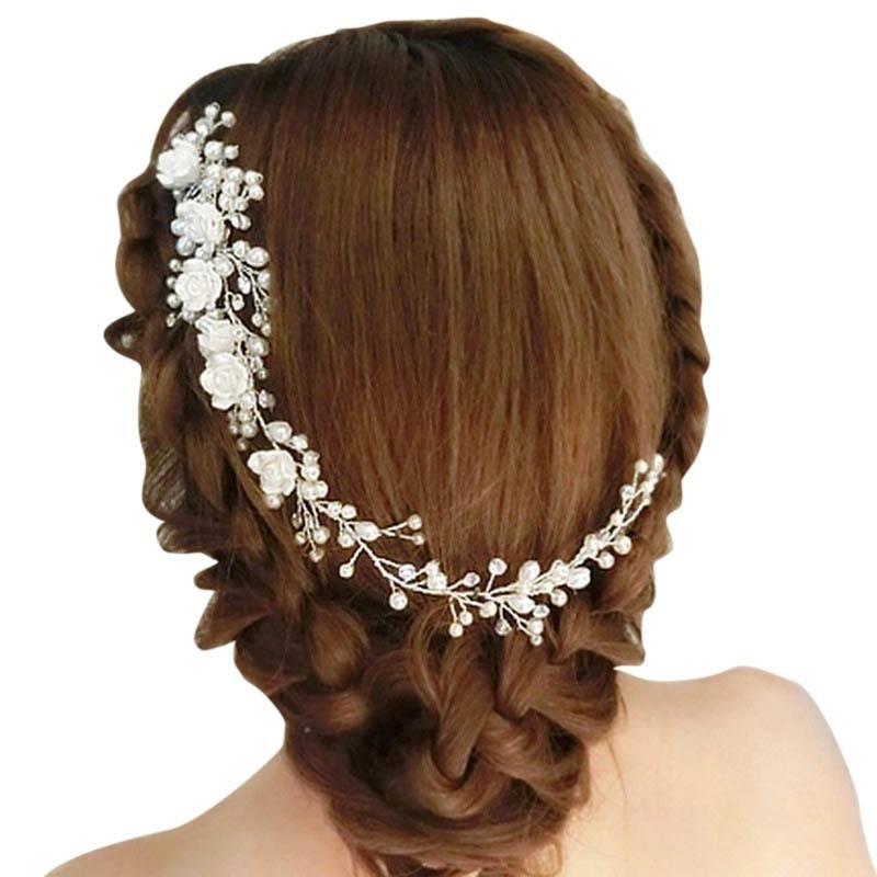 Women Bridal Flower Hair Comb Crystal Fake Pearl Wedding Clip Headband - intl