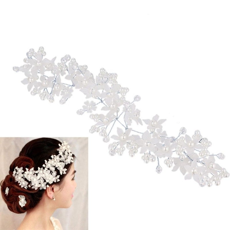 Women Crystal Frosted Pearl Hairband for Bride Bridesmaid Headdress - intl