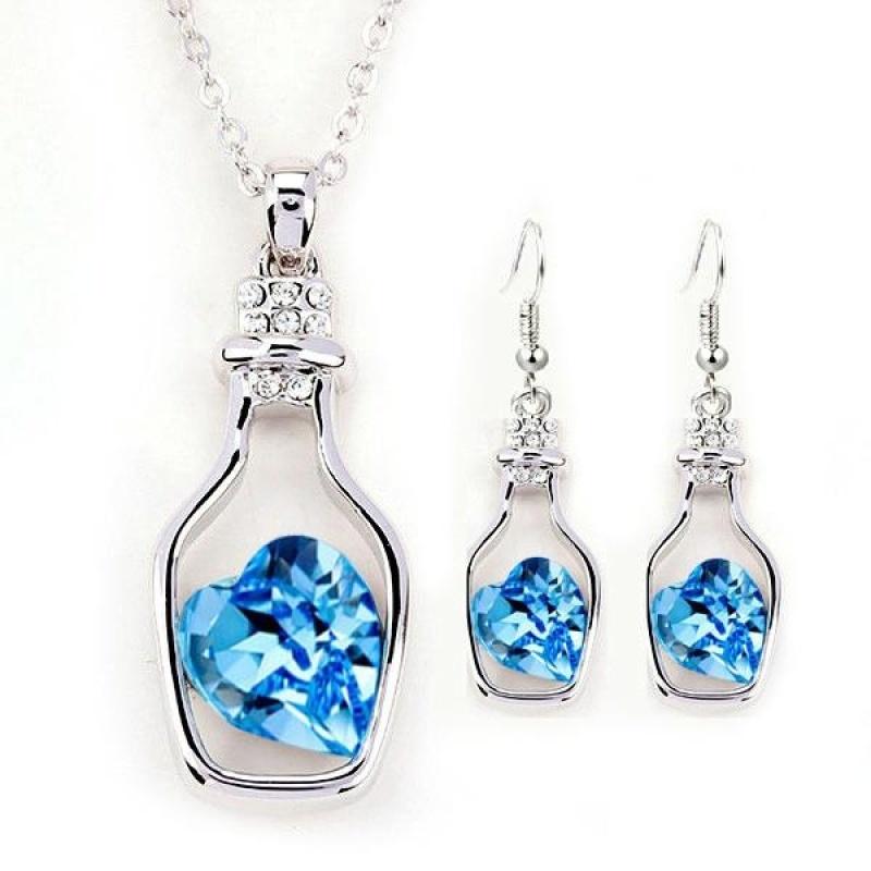 Women Drifting Bottle Pendant Necklace + Earrings Set Jewelry Sets - intl