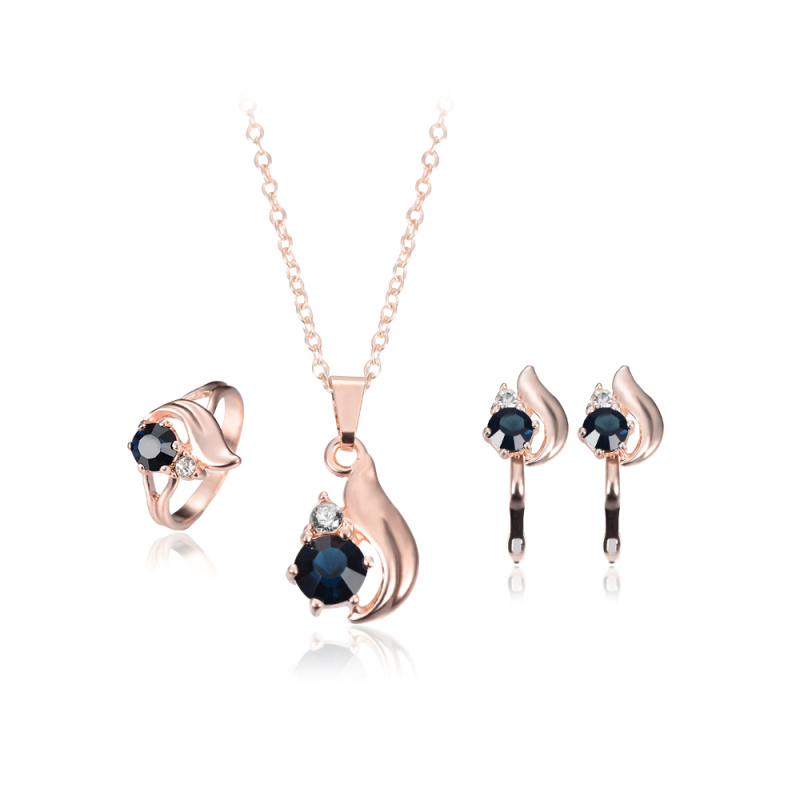 Women Wedding Rose Gold Necklace Earring Ring Statement Jewelry Set - Intl