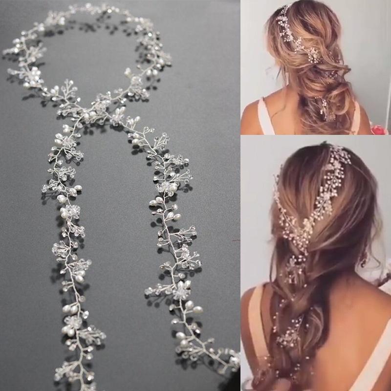 Wonderful Power 1m/1.5m Pearls Wedding Hair Vine Crystal Bridal Accessories Diamante Headpiece KCT-Silver white Size 1.5M - intl