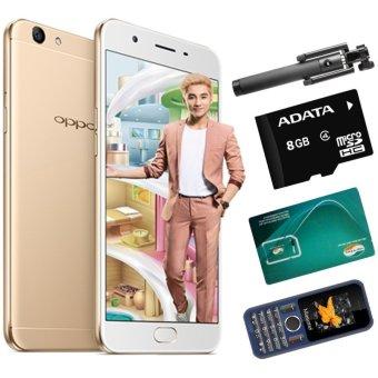Bộ 1 OPPO F1s 32GB (Vàng Đồng) + 1 Masstel A12 + Gậy Chụp Hình + Sim Viettel +Thẻ Nhớ 8GB - Hãng Phân phối chính thức