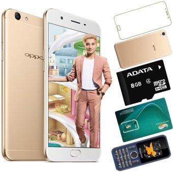 Bộ 1 OPPO F1s 32GB (Vàng Đồng) - Hãng Phân phối chính thức + 1 Masstel A12 + 1 Ốp Lưng + 1 Dán Cường Lực + 1 Sim Viettel + 1Thẻ Nhớ 8GB