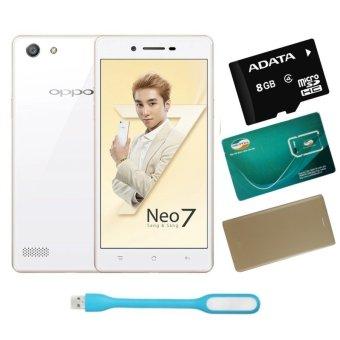 Bộ 1 OPPO Neo 7 16GB 2 SIM (Trắng) + 1 Bao Da + 1 Sim Viettel +Thẻ Nhớ 8GB + 1 Đèn Led USB